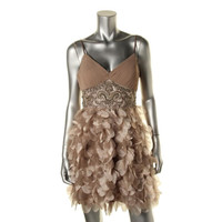 Sue Wong Womens Chiffon Sequined Party Dress