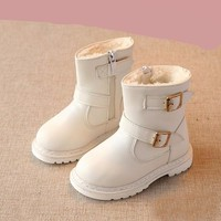 Children Snow Boots For Girls Keep Warm Toddlers Leather Plush Boots