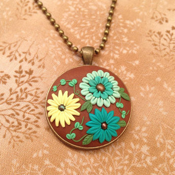 flower necklace - embroidery flower clay -  boho necklace - statement necklace - jewelry embroidery handmade cabochon - clay flowers