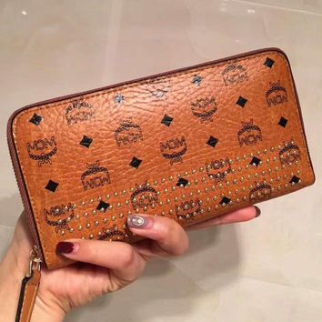MCM Women Trending Zipper Leather Purse Wallet Satchel bag +Girl Box Brown G-ZQXH-CJGFBB