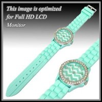 "Designer Inspired Mint Green & White Chevron Fashion Watch. Size 9.6""l X 1.7""w Stainless Steel Back."