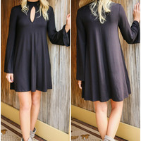 Somebody To Love Black Bell Sleeve Keyhole Cutout Trapeze Dress