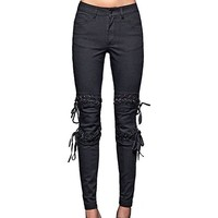 Kiss and Tell Lace Up Black Skinny Jeans