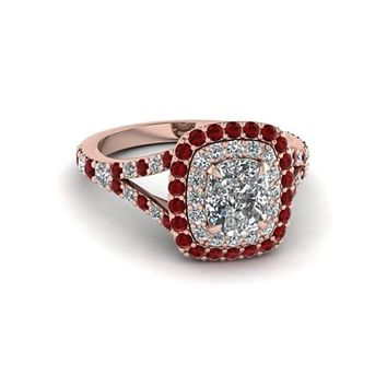 14K Rose Gold 3CT Cushion Cut Russian Lab Diamond Red Ruby Halo Split Shank Engagement Ring