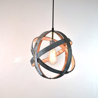 Small Wine Barrel Ring Hanging Lantern- Atom - 100% RECYCLED
