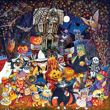 Cats and Dogs on Halloween 500pc Jigsaw Puzzle