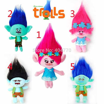 23cm Hot New Movie Trolls Plush Toy Poppy Branch Dream Works Stuffed Cartoon Dolls The Good Luck Trolls Christmas Gifts