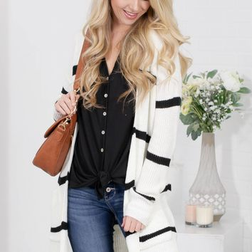 Ivory Striped Pocket Knit Cardigan