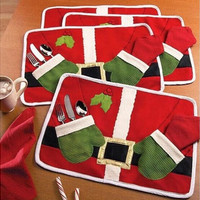 Table Dish Bowl Food Placemat Decoration Christmas Home Party Santa Claus Mats [8270573825]