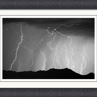 Massive Monsoon Lightning Storm Bw Framed Print