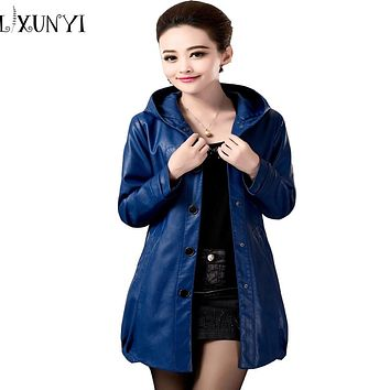2017 Spring Autumn Women Leather Jacket With Hoodie Mother's Long Hooded  Blue Red Black Leather Jacket Women 4xl 5XL