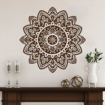 Mandala Decals Mehndi Vinyl Sticker Wall Decal Lotus Flower Namaste Home Decor Bohemian Bedroom Ornament Moroccan Pattern Yoga Studio NV28 (17x17)