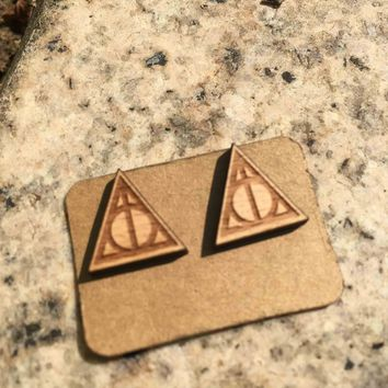 Harry Potter Deathly Hallows Earring Laser Cut Triangle and Circle Earrings Solid Wood Handmade Triangle and Round Stud X 1 Pair