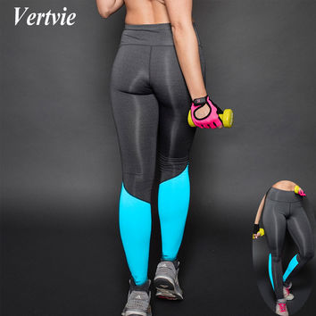 Vertvie Women Yoga Leggings Elastic Patchwork Sports Pencil Pants Breathable Quick Dry Athletic Fitness Running Gym Tight  Pants