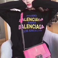 DCCKVQ8 Balenciaga' Women Casual Fashion Multicolor Gradient Color Letter Logo Print  Long Sleeve Hooded Sweater Sweatshirt Tops