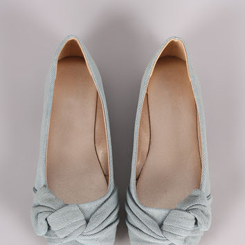 Qupid Denim Knotted Bow Ballet Flat