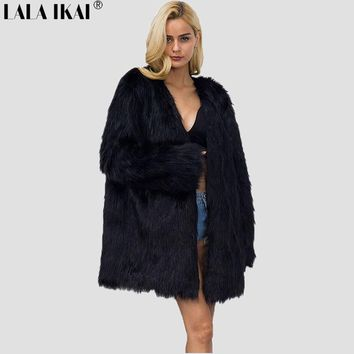 2017 LALA IKAI Women Sexy Winter Long Faux Fur Coat Parka V Neck Big Fur Cape Jacket High Quality Clothing Weight 1kg SWQ0378-45