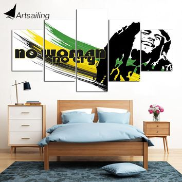 Decorative Painting 5 Piece HD Printed bob marley music Painting Canvas Print Room Decor Poster Picture Canvas Art