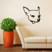 Housewares Wall Vinyl Decal Chihuahua Cute Dog Animal Pet Shop Home Art Decor Kids Nursery Removable Stylish Sticker Mural Unique Design for Any Room