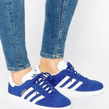 adidas Originals Royal Blue Suede Gazelle Unisex Sneakers at asos.com