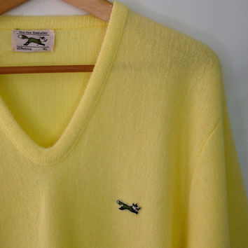 FOX Sweater  JCPENNEY Fox Sweater Vintage Acrylic Sweater Vintage 80s Sweater V Neck Sweater Yellow Oversized Sweater Slouchy Sweater