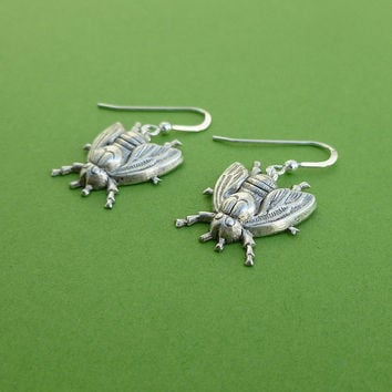 silver fly earrings