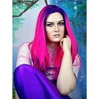 Camellia Purple To Deep Pink Ombre Synthetic Lace Front Wig
