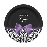 Girly Leopard Print Pretty Purple Ribbon With Name 7 Inch Paper Plate
