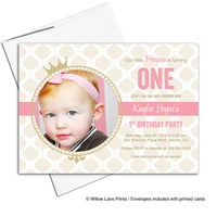 Pink and gold first birthday invitation girls pink and gold birthday party invites | printable or printed - WLP00305