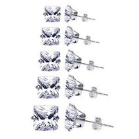 TDEZ-SQUARE-SET 925 Sterling Silver Clear Square Stud Earrings Set Consist 3mm to 7mm