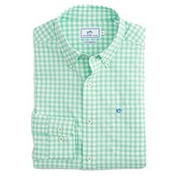 Nassau Gingham Intercoastal Performance Shirt in Offshore Green by Southern Tide