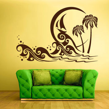 rvz1341 Wall Decal Vinyl Sticker Decals Palm Beach Waves Ocean Sea Poster
