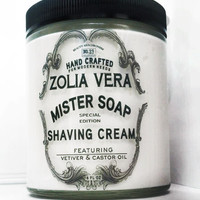 Mister Soap Shaving Cream, thick and rich castor oil lather for coarse hair growth, masculine vetyver fragrance, aloe vera,  paraben free!