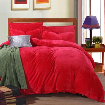 Thick  Winter Warm Flannel 4pcs Solid Printed Bedding Set Suit Bed Sheet/Duvet Cover/Pillowcase