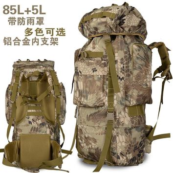 80L Mountaineering Bag Outdoor Backpack 90L High-capacity   Camping Army   Color Sports Men Hiking  Backpack A4816