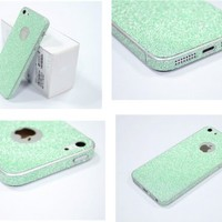TCD for Apple iPhone 5 5S Full Body [AQUA GREEN] Sparkling Glitter [SKIN STICKER] Adhesive - No Sticky Residue Stylish Decorative Skin with Built in Screen Protector