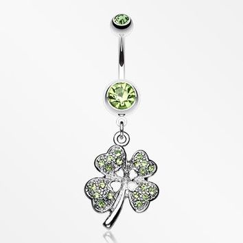 Classic Four Leaf Clover Sparkle Belly Ring