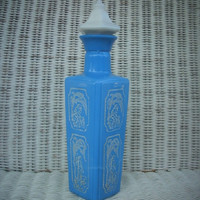 Vintage Jim Beam  Blue Whiskey Decanter Bottle with Stopper