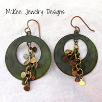 Verdigris Patina  hoops with brass drop chain earrings.