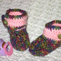 Multi-colored and Pink 0-3 months Baby Boots Baby Shower Gift, Infant, Ready to Ship, Perfect Photo Prop Other colors at request