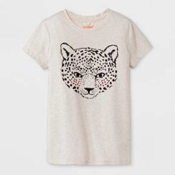 Girls' Short Sleeve Leopard Graphic T-Shirt - Cat & Jack™ Oatmeal Heather