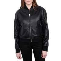 Black Leather Bomber Jacket 110235755