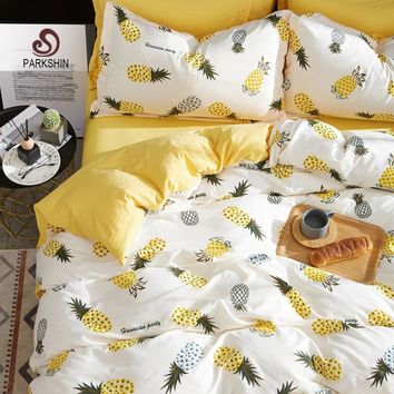 Parkshin Bedding Set Cute Pineapple Comforter Yellow Double Sheets Elastic Duvet Cover Bedspread Decor Queen Linens Bedclothes