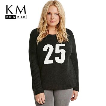 Kissmilk Plus Size Fashion Women Clothing Basic Preppy Style Sweater Pullovers Long Sleeve Casual Big Size Sweater 4XL 5XL 6XL