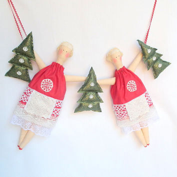 Christmas Garland dolls Gift Christmas ornament red dresses, green Christmas trees Handmade fabric dolls Nursery, Home Christmas Decoration