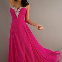 Long Flowing Strapless Sweetheart Gown