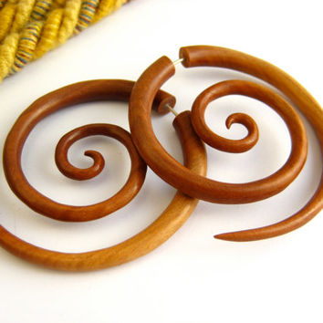 Fake Gauge Earrings Wooden Double Spiral Tribal Earrings - Gauges Plugs Bone Horn - FG029 W ALL