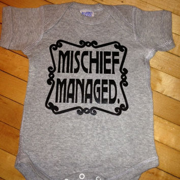 Harry Potter Mischief Managed Baby Onesuit T-Shirt- Pick your color. Pick your size.