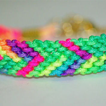 Neon Multi Colored Friendship Bracelet with Gold Clasp -Rainbow Colored