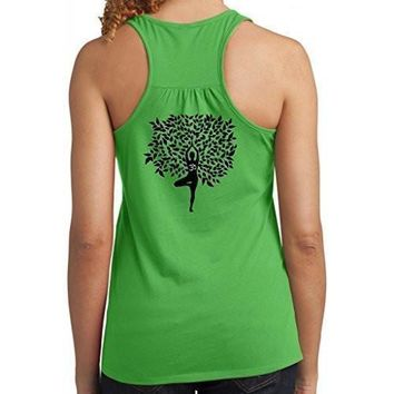Yoga Clothing for You Womens Tree Pose Racerack Tank Top - Mid Back Print